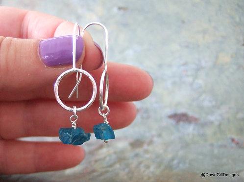Hoop Drops - Apatite; neon blue