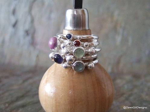 Astrid stacking ring - Rose Cut Garnet size P 1/2