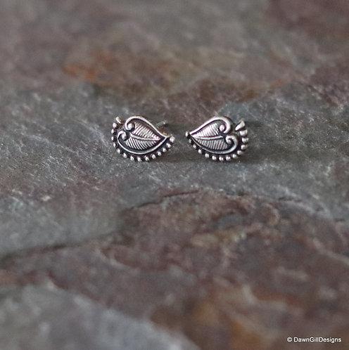 Leafy fine silver stud earrings - sterling post and butterfly backs