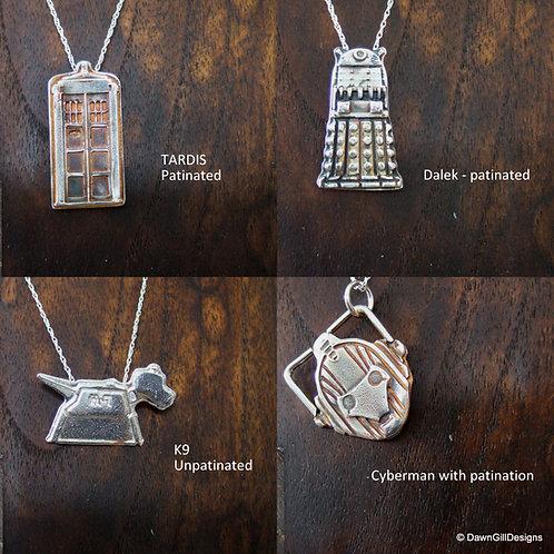 Doctor Doctor. Fine silver TARDIS / Dalek / Cyberman / K9
