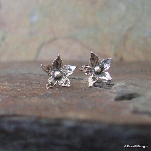 Borage flower stud earrings