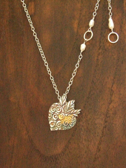 Fine silver, with gold Keum-Boo stylised strawberry pendant
