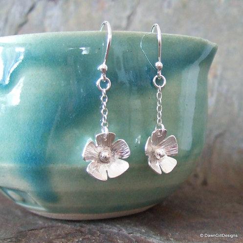 Floral drops - sterling