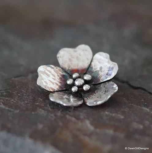 Sterling silver, dog rose inspired pendant