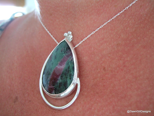 Ruby Zoisite, sterling silver fluid teardrop necklace