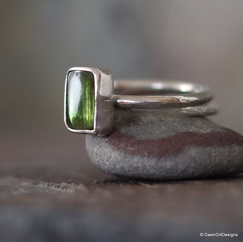 Unique with a twist - tourmaline slice stacking pair of rings