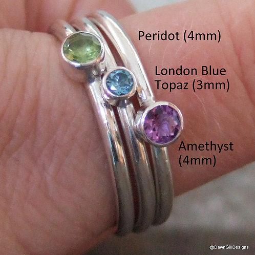 Brilliant cut gemstone stacking ring - take your pick