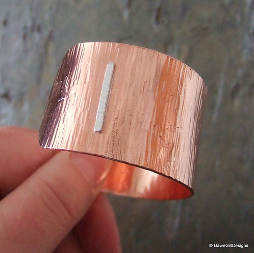 Beaten Copper Cuff - Silver Birch