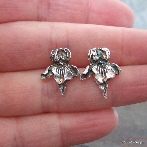 Iris stud earrings - fine silver