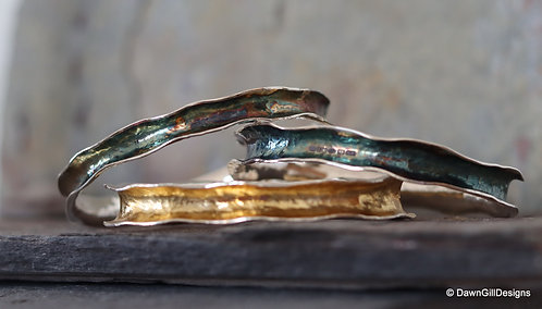 Sterling silver, anticlastic bangle - patinated
