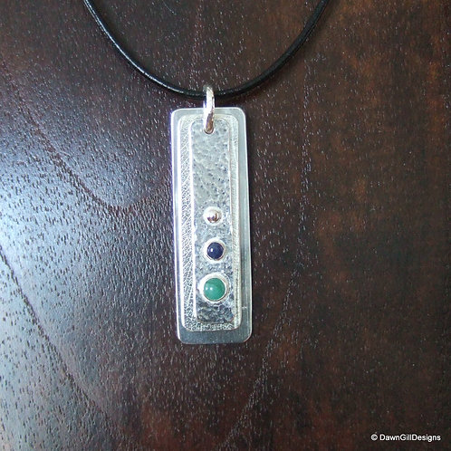Secret message, triple textured, dog tag pendant, with gemstones
