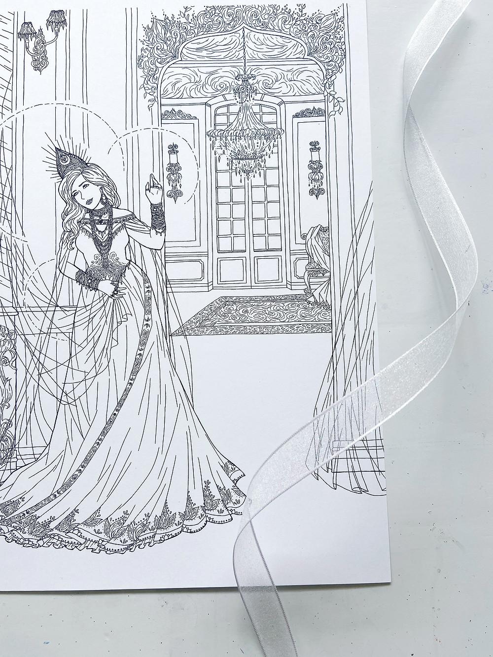 goddess Laksmi lounging in her elegant mansion - artwork in pen and ink