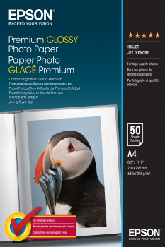 Epson Papel Premium Glossy Photo 255g 50 Hojas de A4