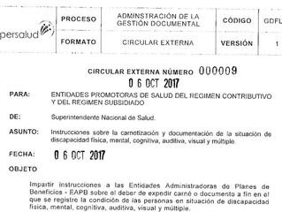 Superintendencia de Salud emite circular para emisión de certificados de discapacidad.