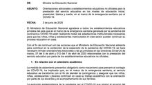Circular Nro. 12  del Ministerio de Educación Nacional para colegios privados en el marco de la emer
