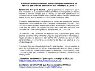 Comunicado Nro. 5 de 2020: Fundown Caribe apoya estudio internacional para determinar si las persona