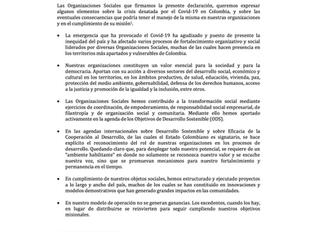 Declaración de Organizaciones Sociales en torno a la situación actual y sus eventuales consecuencias