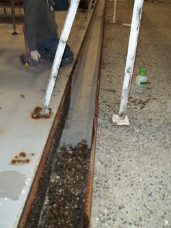 Corroded trench gutter