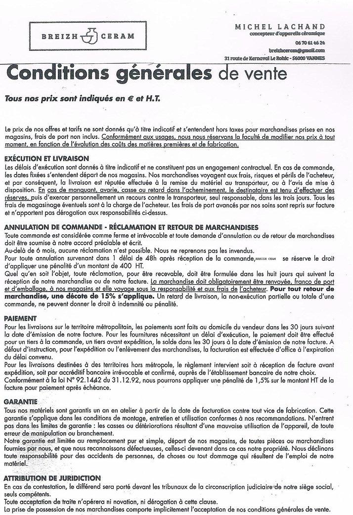 Conditions générales de vente Breizh Céram