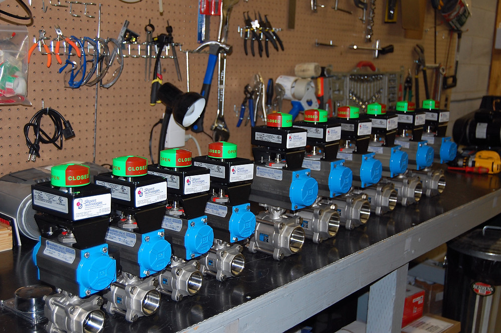 Ball Valves with mounted actuators, switch boxes and 24VDC solenoids, stocked at Setpoint Technologies Inc.