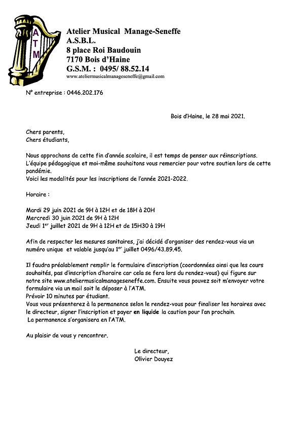 Type lettre ATM parents inscriptions jui