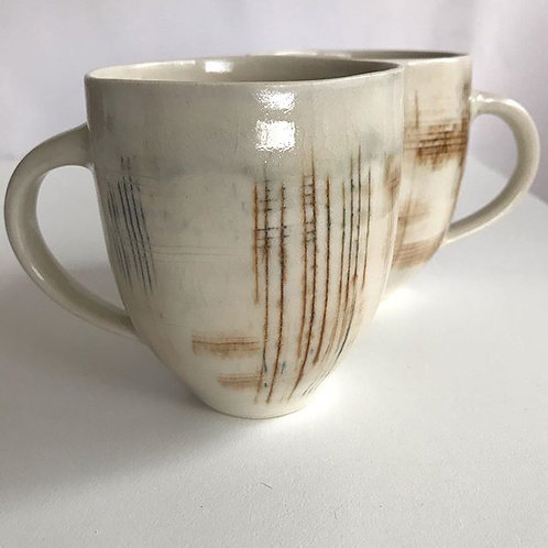 Tall Mugs with Scrafitto