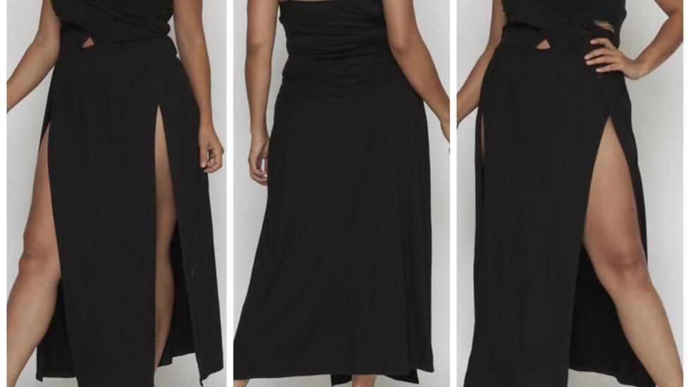Black Magic Plus Slit Maxi Dress