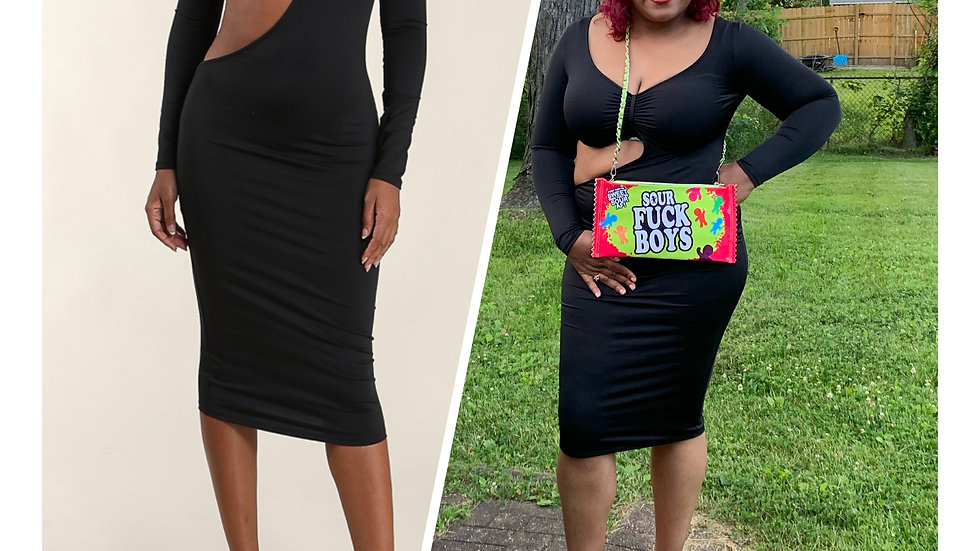 Front Cut Out Midi Dress