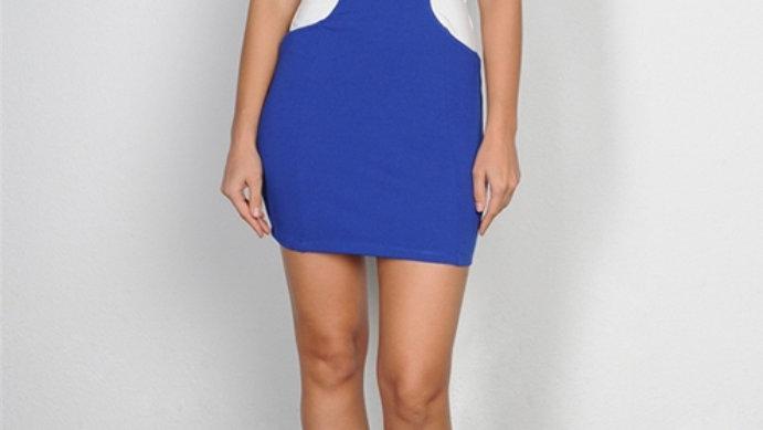 White/Blue Cut Out Dress