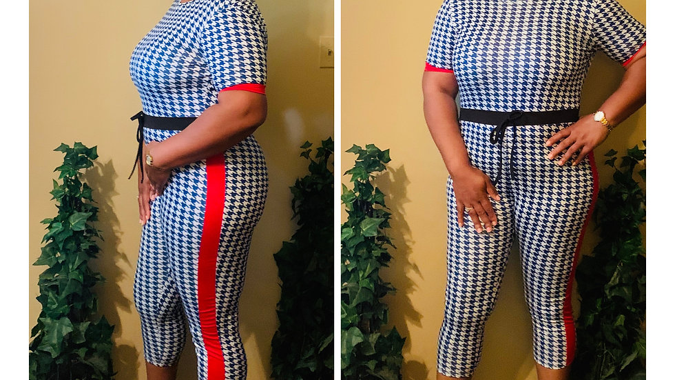 Blue Checkered Jumpsuit