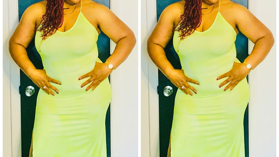 Sexy Slime Slide Split Mini Dress