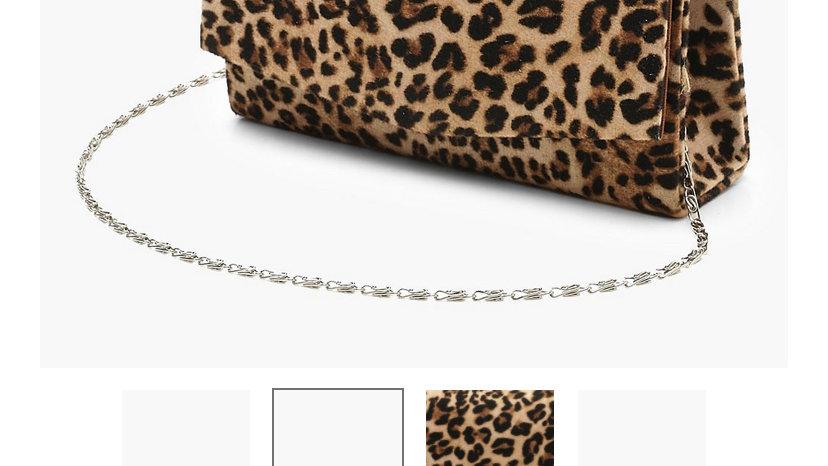 Leopard Chain Clutch