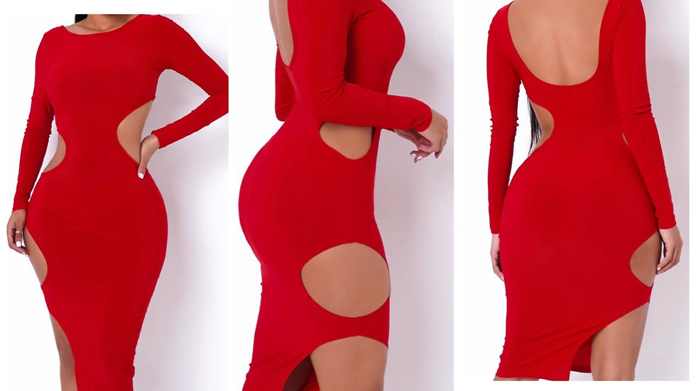 Sexy in Red MIDI Dress