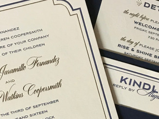 3 ply wedding invitation with gold foil and navy letterpress with pocket on back