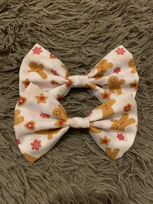 SALE Large Bow - White gingerbreadman