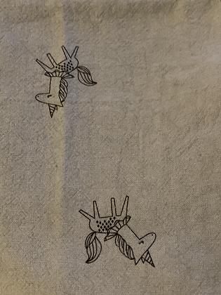 SALE - Blue unicorn small Over collar bandana