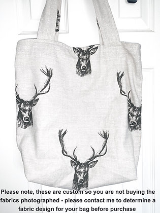 Custom Handmade lined tote bag - Contact to discuss fabric