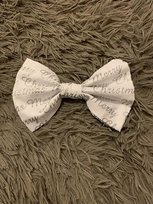 SALE Large Bow - White merry xmas