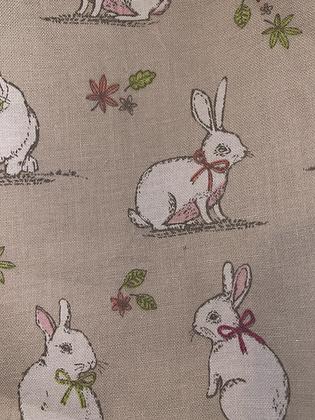 "SALE - Beige bunny small Over collar bandana (1.2"" collar gap)"