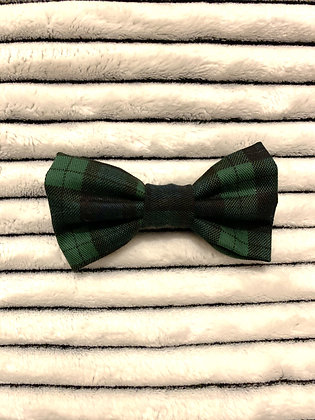 SALE Small Bow - Dark green plaid