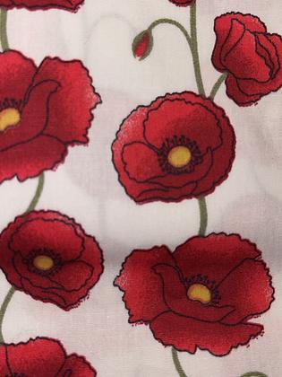 SALE - Cream poppy Large Over collar bandana