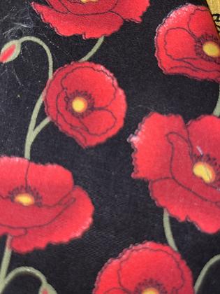 "SALE - Black poppy M bandana up to 18"" neck"
