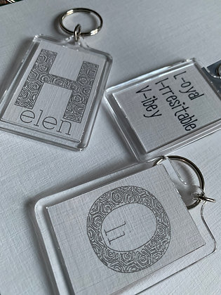 Foiled initial keyring