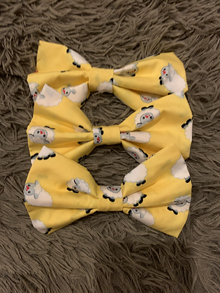 SALE Large Bow - Yellow sheep