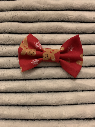 SALE Small Bow - Red gingerbread man