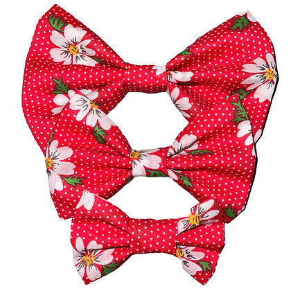 Red flower bow tie