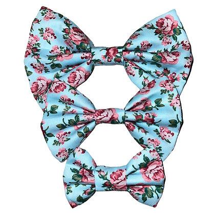 Mint floral bow tie