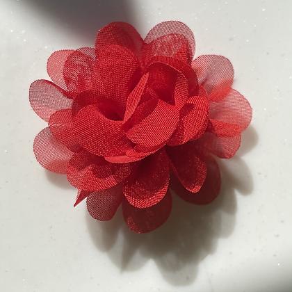 Mini red Flower elastic loop attachment