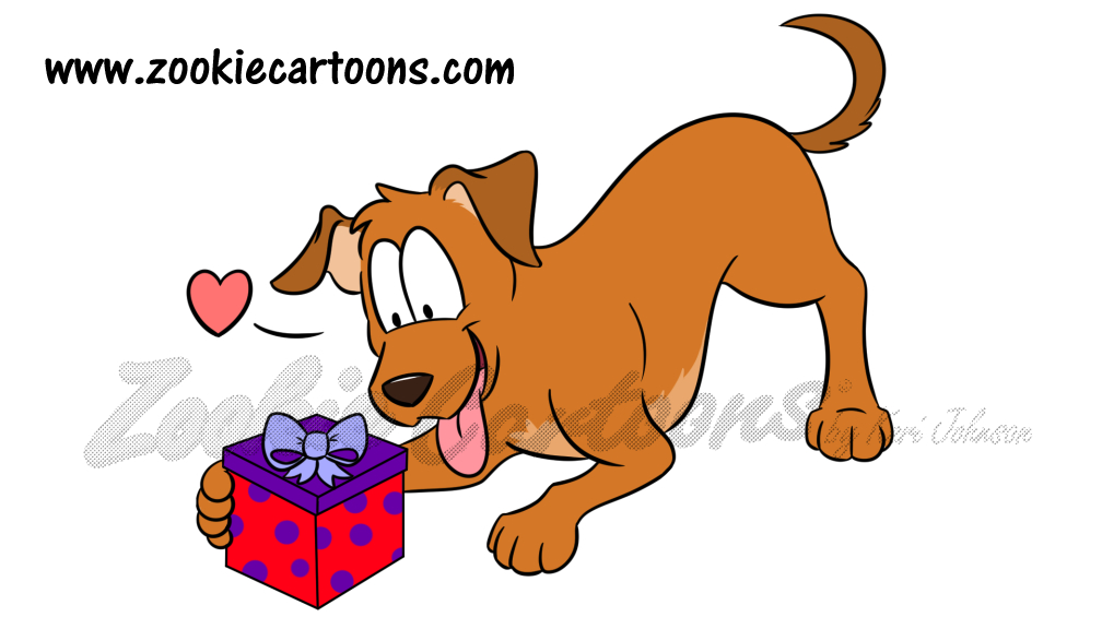 Dog with Present