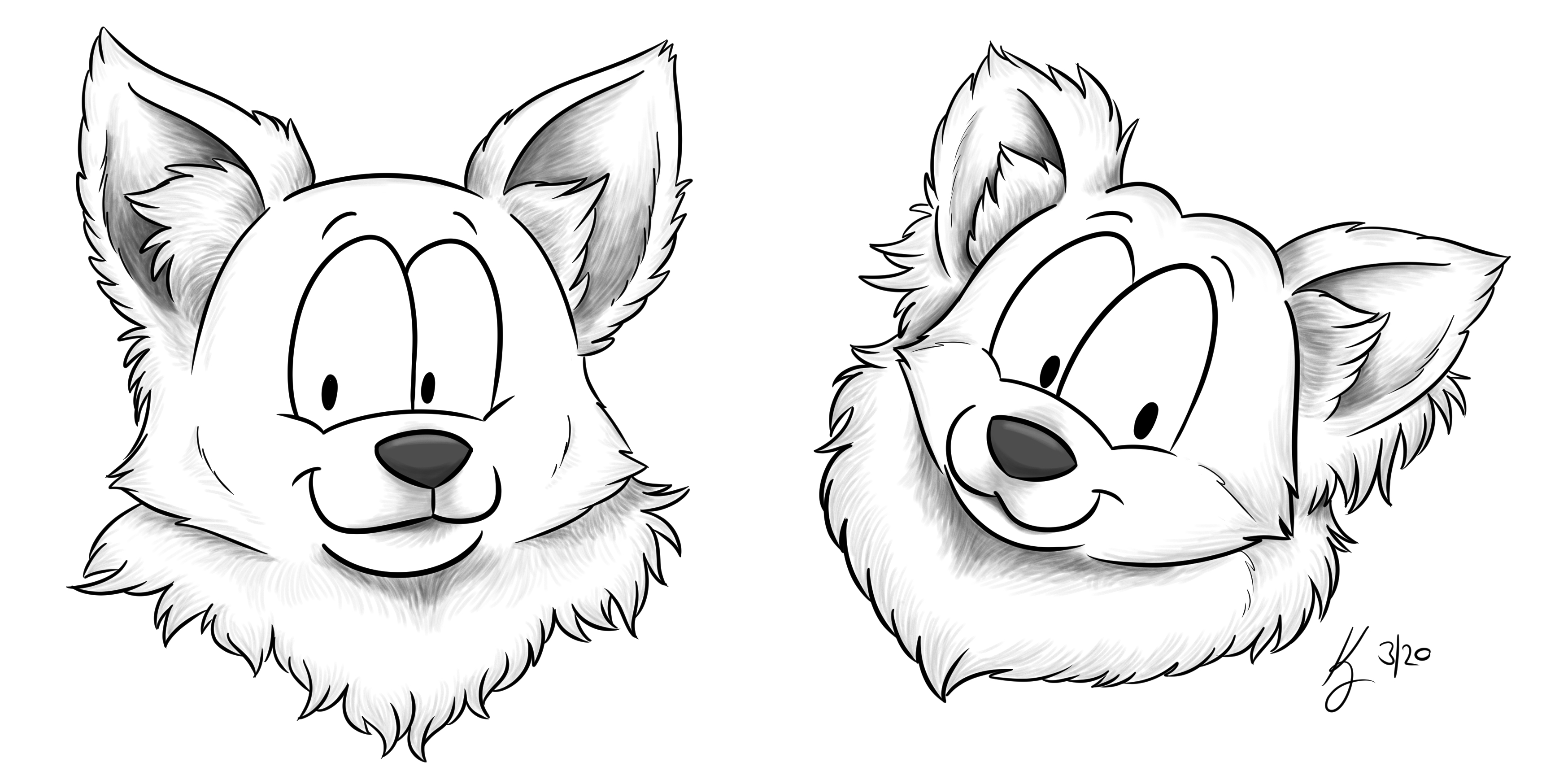 Head Shot Sketch Phoebe and Luna